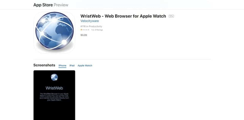 Screenshot of the WristWeb Web Browser App Homepage.