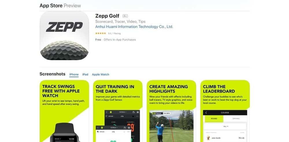 Screenshot of the Zepp Golf App Homepage.