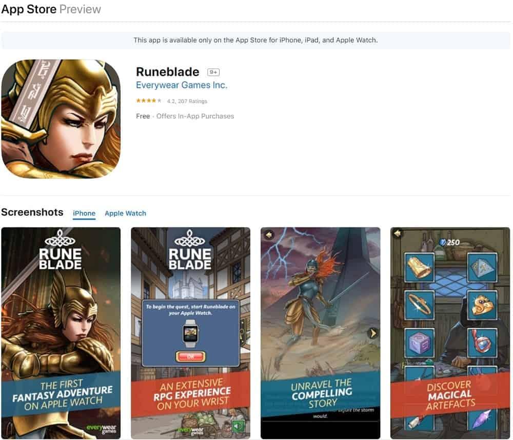 Screenshot of the Runeblade app