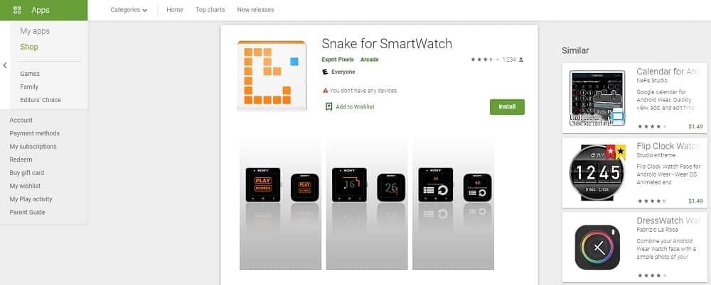 Screenshot of the Snake App