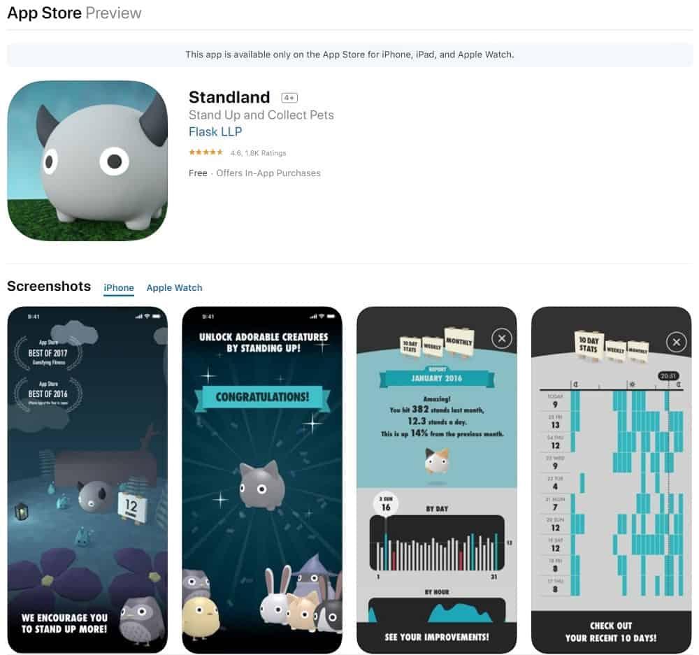 Screenshot of the Standland app