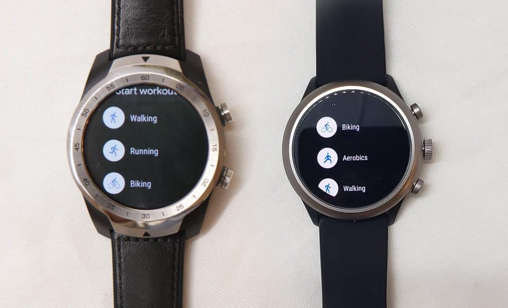 Ticwatch Pro, Fossil Sport Smartwatch Google Fit workout menu
