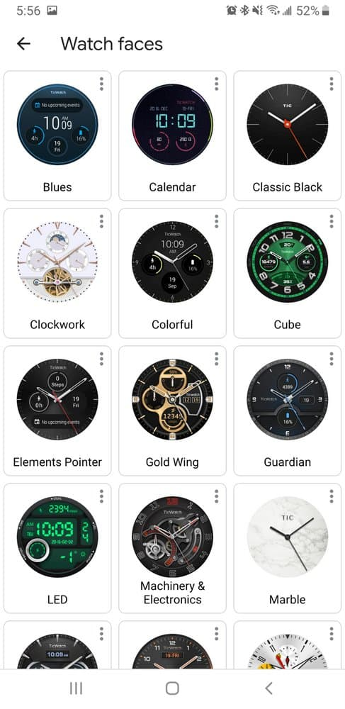 Ticwatch Pro watch faces