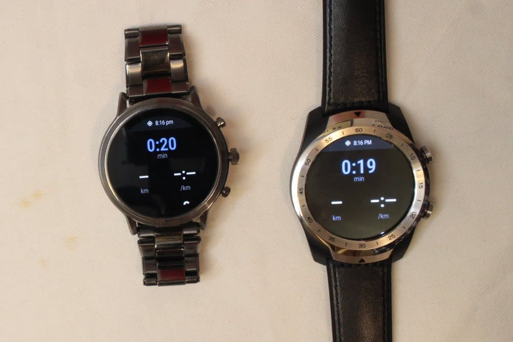Ticwatch Pro and Fossil Gen 5 Carlyle exercise data