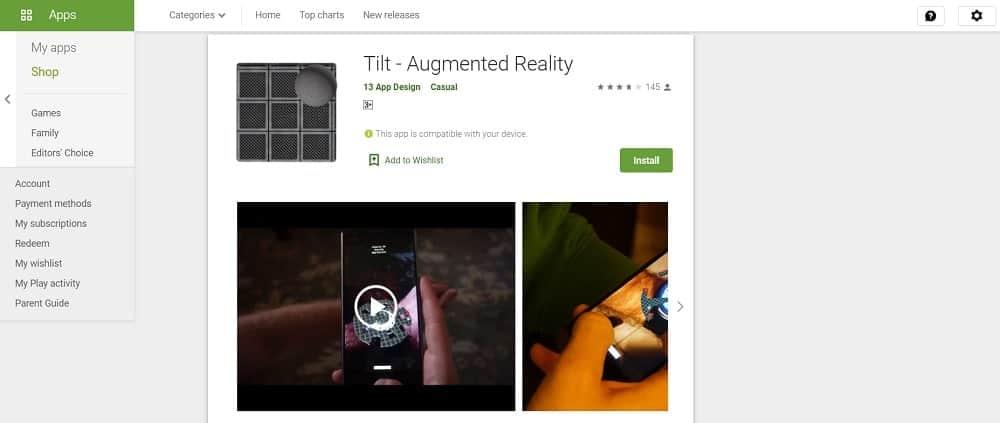Screenshot of the Tilt app