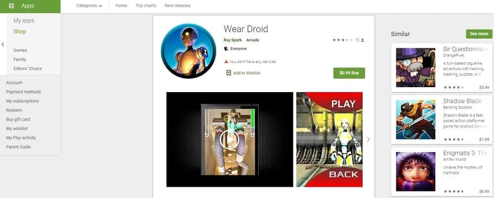 Screenshot of the Wear Droid app