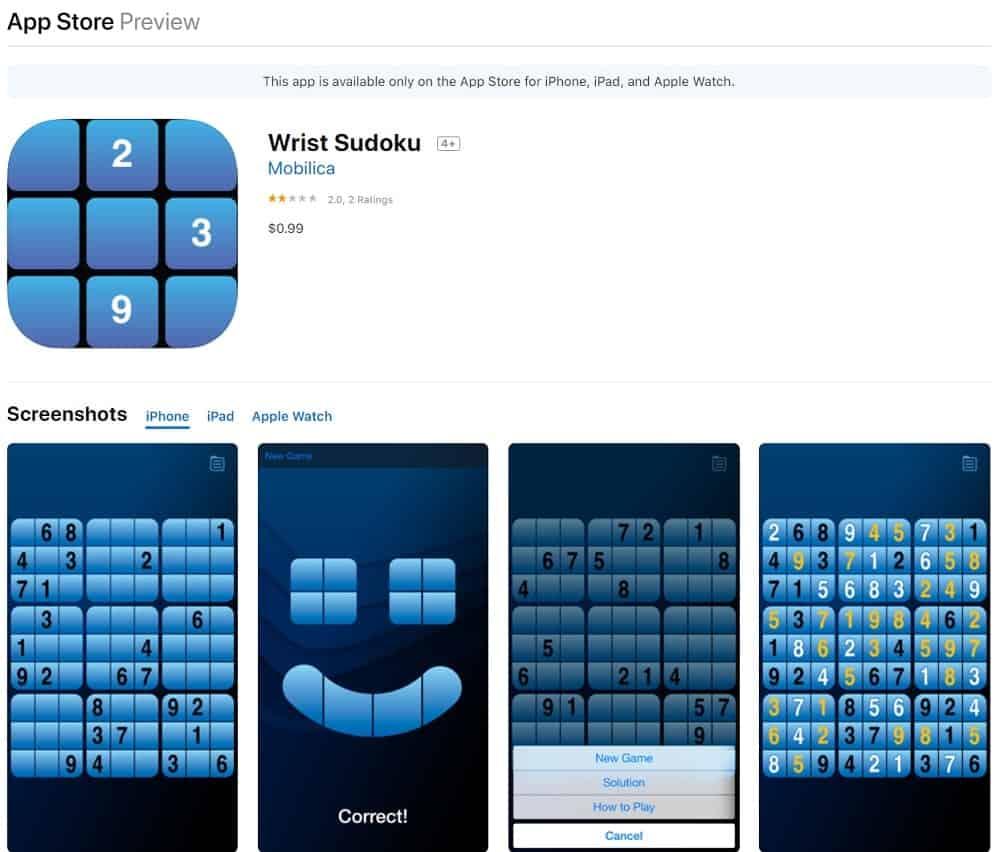Screenshot of the Wrist Sudoku app