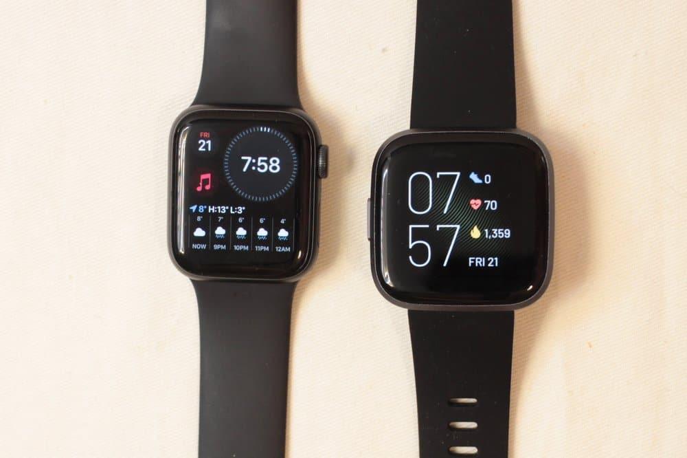 apple watch series 5 fitbit versa 2 main screen