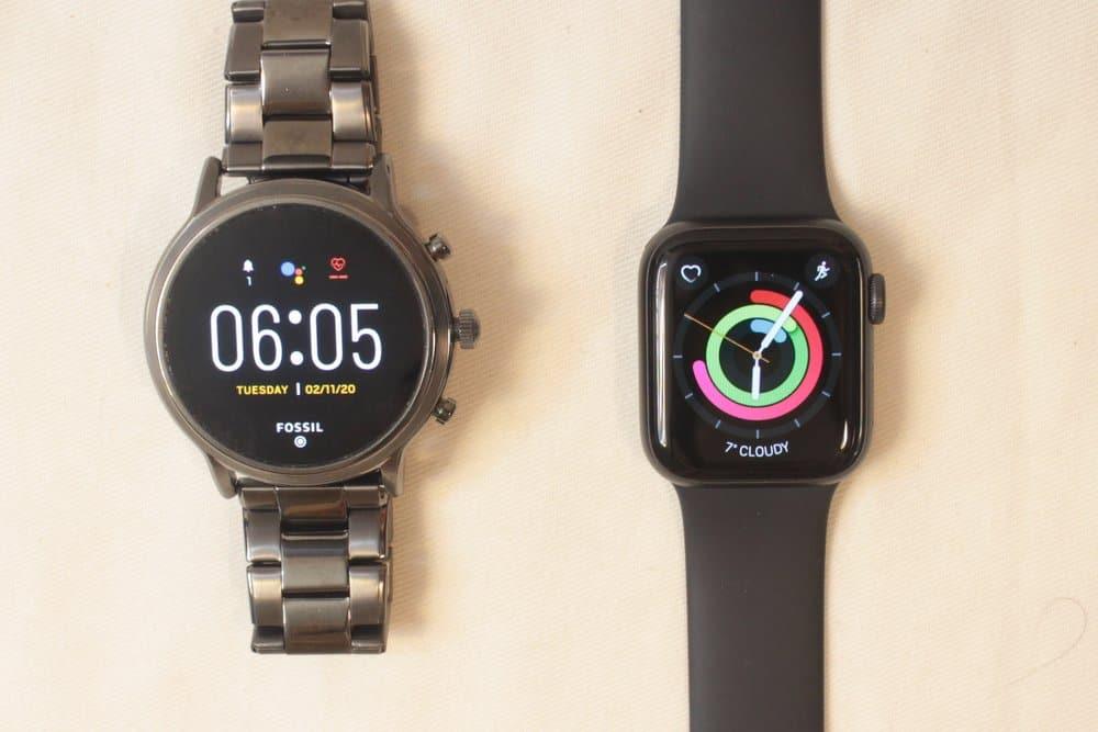 fossil gen 5 carlyle vs apple watch series 5 watch face