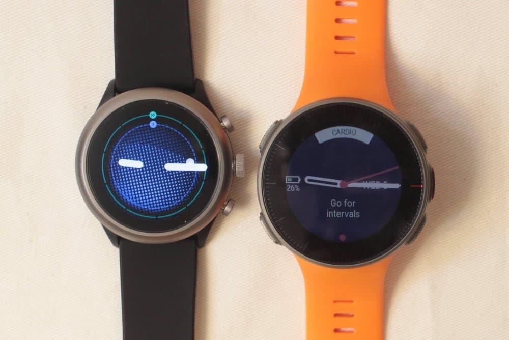 polar vantage v vs fossil sport smartwatch analogue watch face
