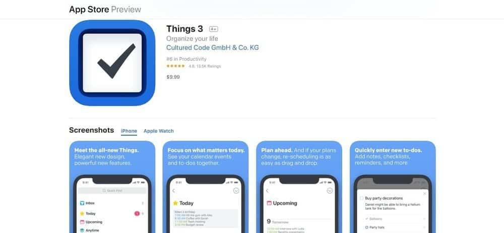 Screenshot of the Things 3 App Homepage.