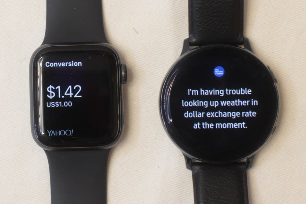 Samsung Galaxy Watch Active 2 vs Apple Watch Series 5 currency exchange