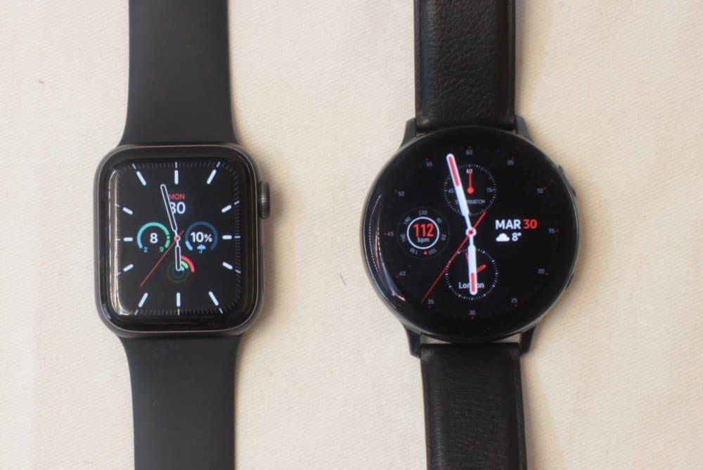 Samsung Galaxy Watch Active 2 vs Apple Watch Series 5 watch face