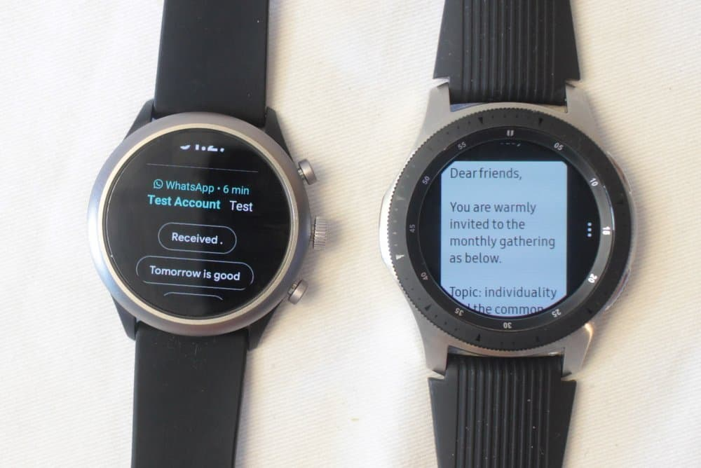 fossil sport galaxy watch text message email