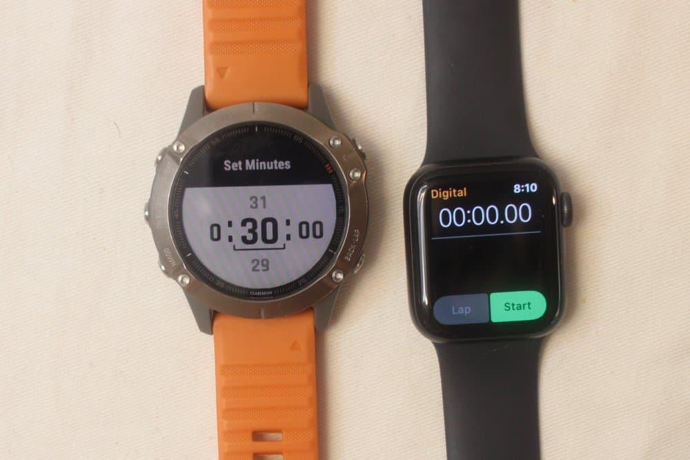 garmin fenix 6 apple watch series 5 stopwatch timer