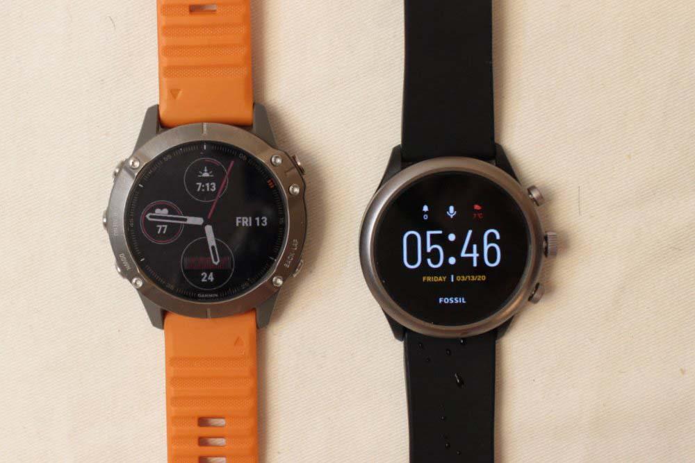 Garmin Fenix 6 vs Fossil Sport Smartwatch main screen