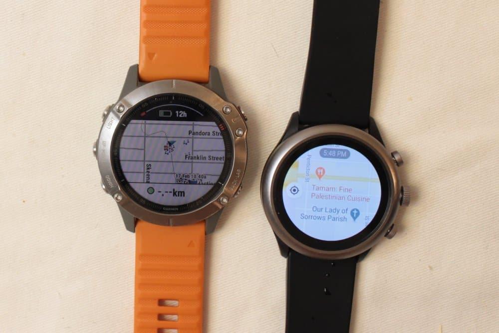 Garmin Fenix 6 vs Fossil Sport Smartwatch maps