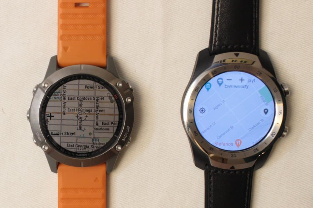 garmin fenix 6 ticwatch maps