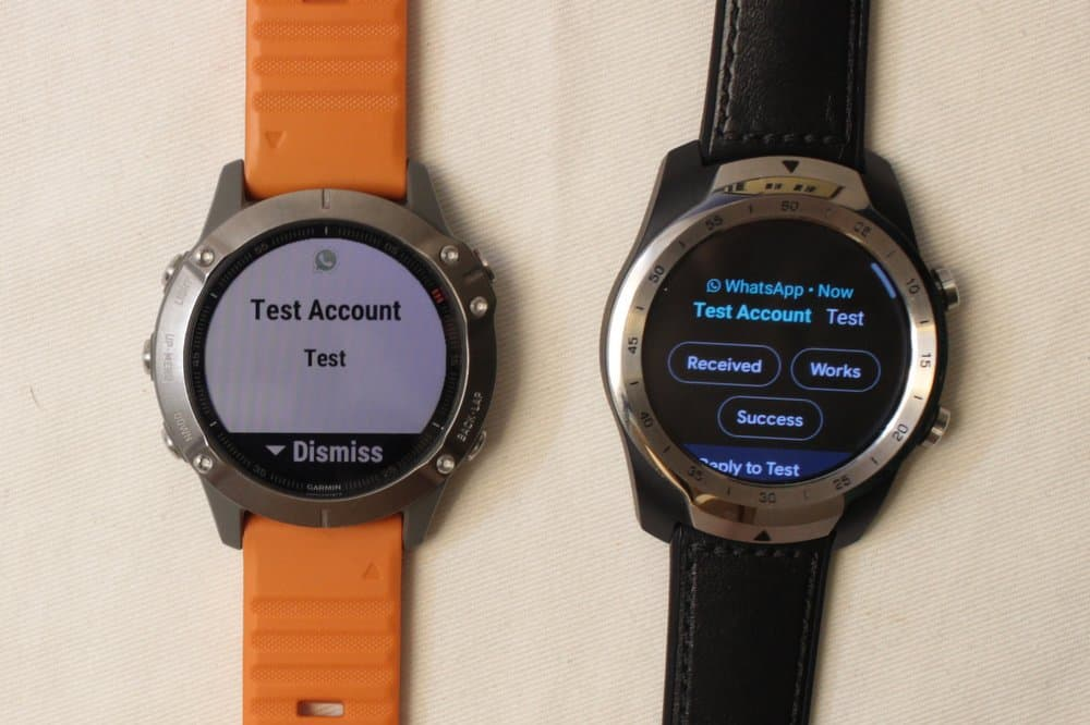 garmin fenix 6 ticwatch texts