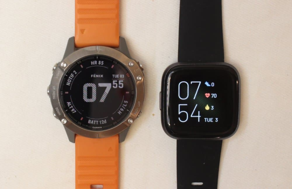 garmin fenix 6 fitbit versa 2 main screen