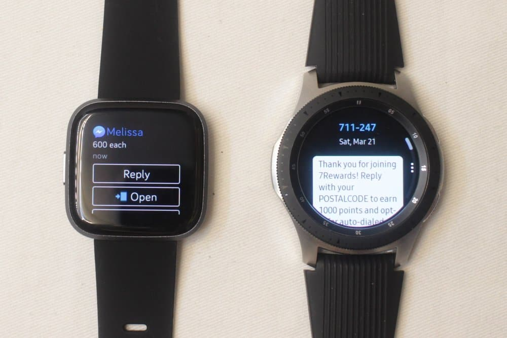 galaxy watch vs fitbit versa 2 texts