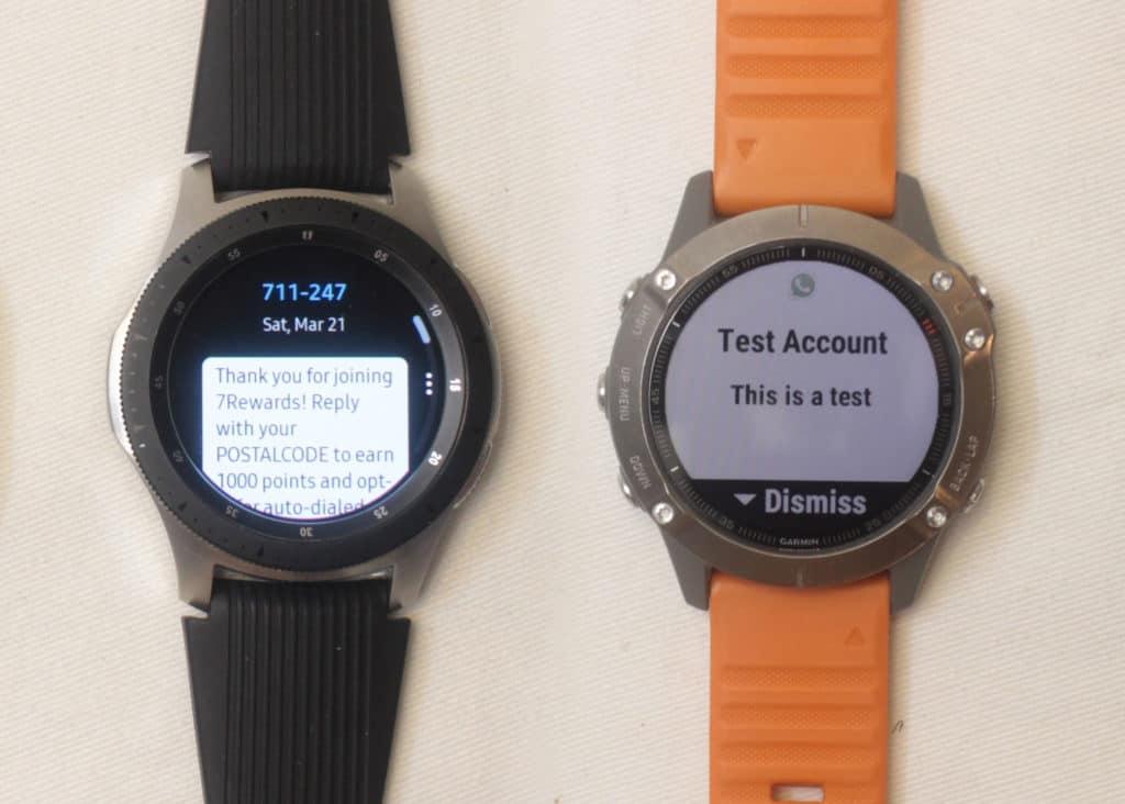 samsung galaxy watch vs garmin fenix 6 text