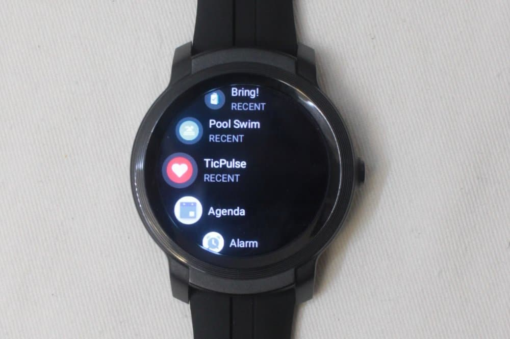 ticwatch e2 apps menu