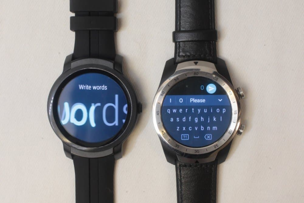 ticwatch e2 vs ticwatch pro letter input