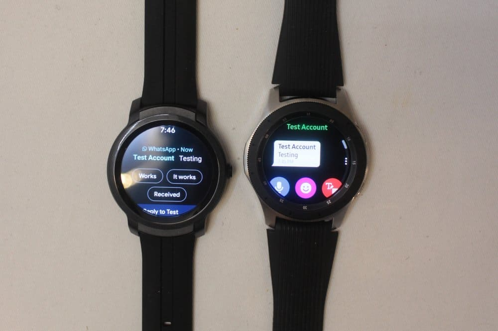 ticwatch e2 vs samsung galaxy watch/active 2 text sms messages