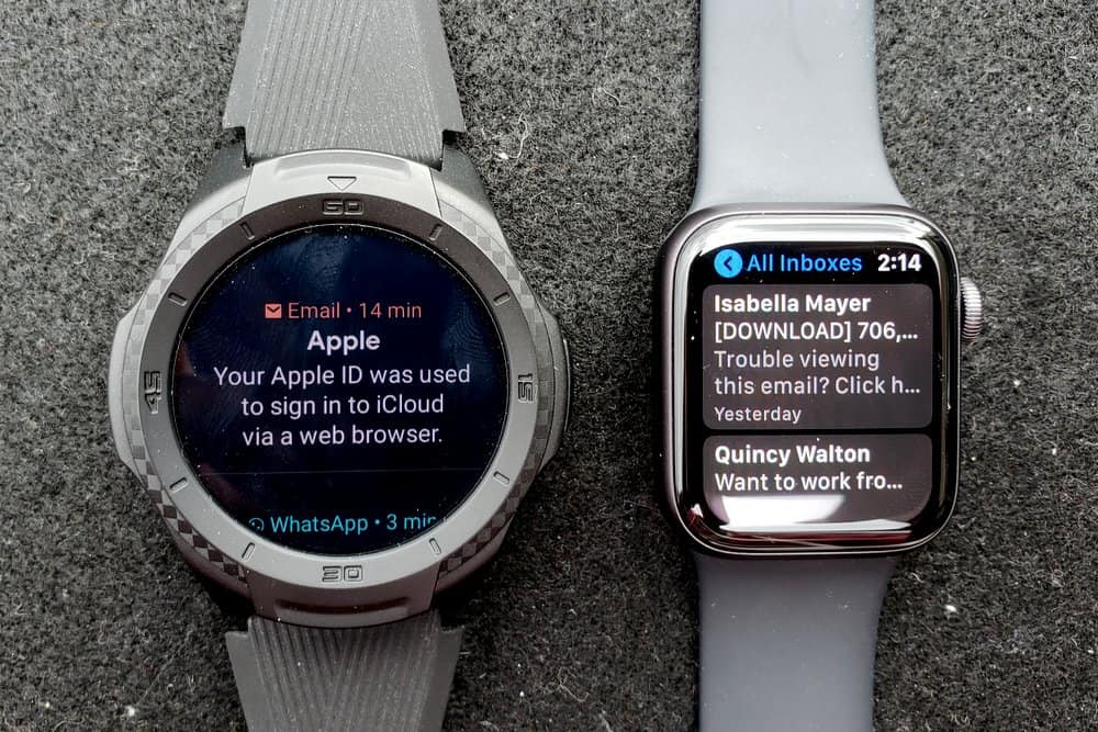 ticwatch s2 vs apple watch series 5 emails