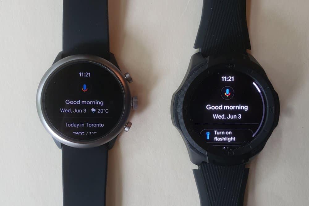 ticwatch s2 vs fossil sport smartwatch google assistant
