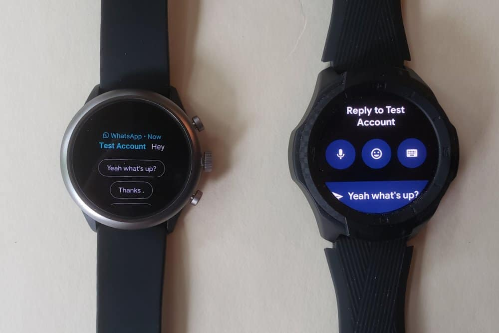 ticwatch s2 vs fossil sport smartwatch reply to message and email