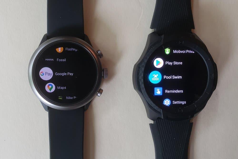 ticwatch s2 vs fossil sport smartwatch apps menu