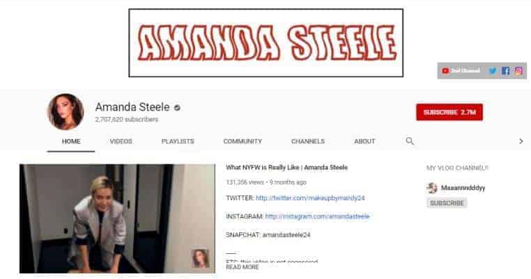 Amanda Steele YouTube homepage.