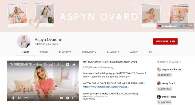 Aspyn Ovard YouTube homepage.