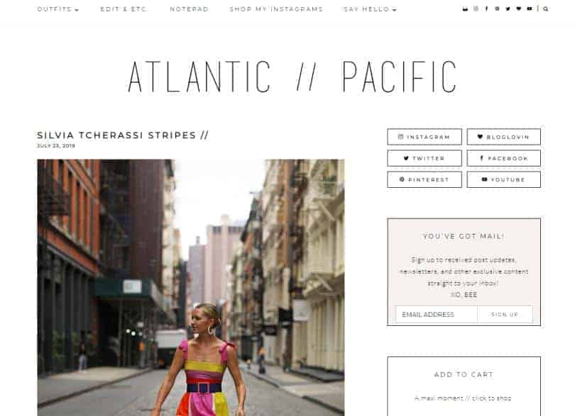 Atlantic Pacific website for fashion.