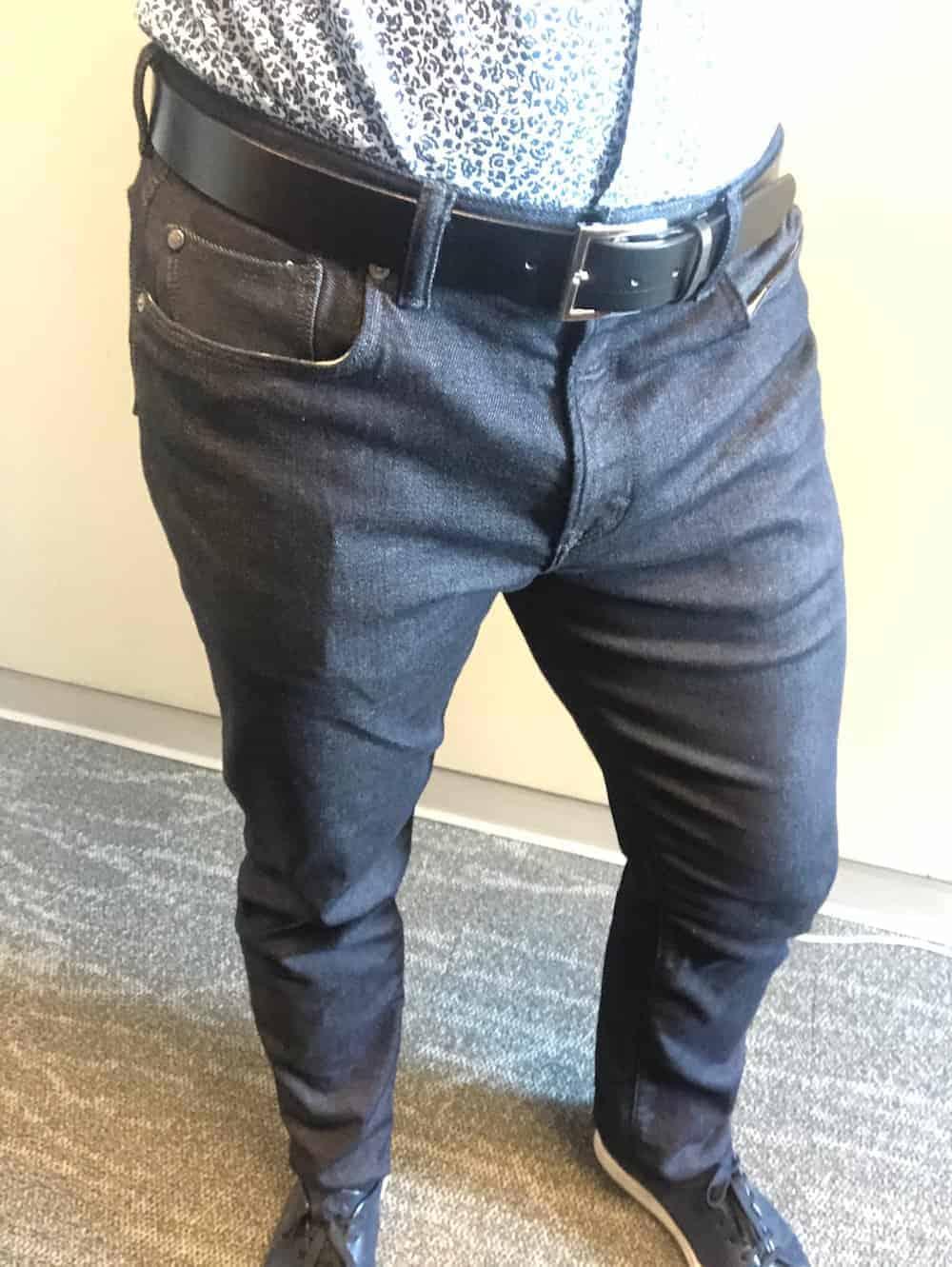 Full length front view of Traveler jeans for men by Banana Republic - shirt tucked.