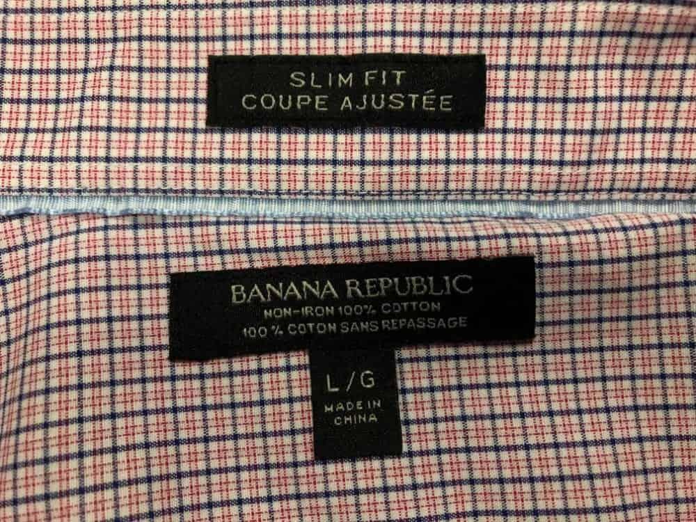 Banana Republic slim fit men's dress shirt label.