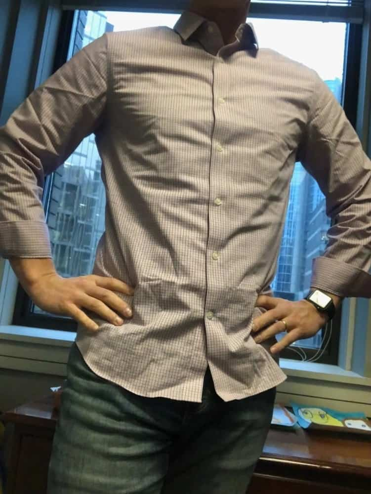 Banana Republic slim fit men's dress shirt – untucked. It's a good length for the untucked look. The jeans are BR slim fit jeans.