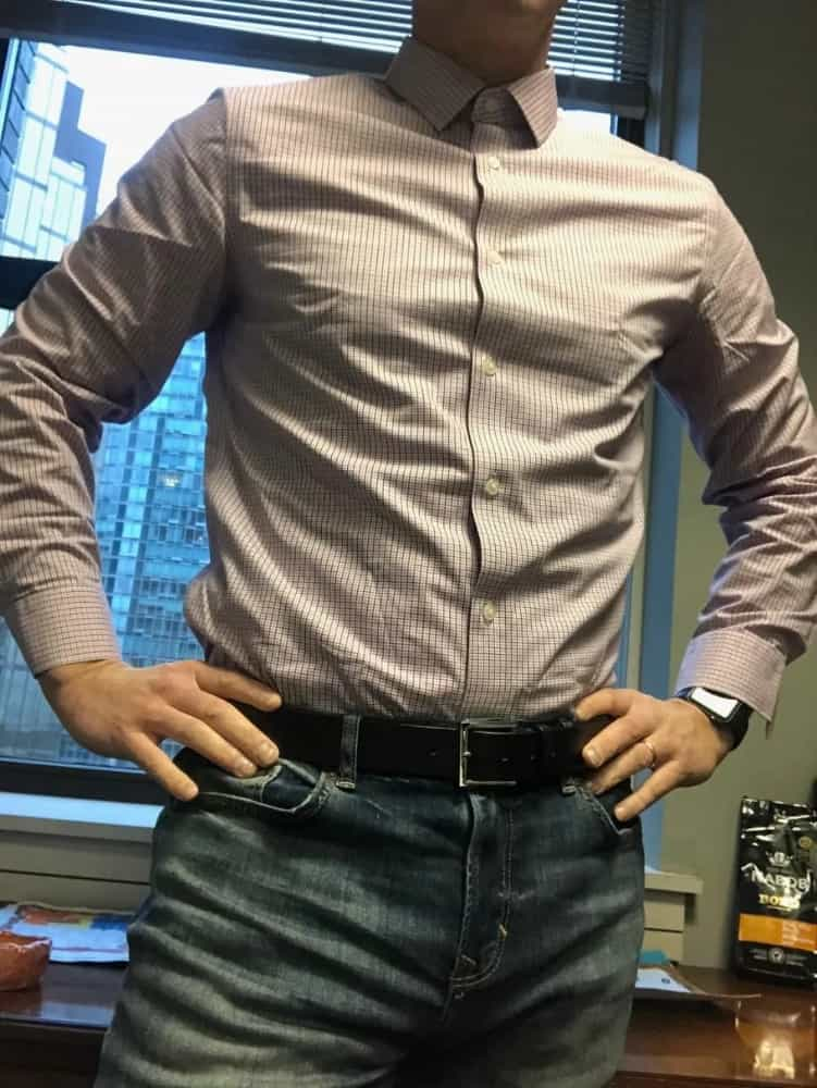 I don't normally tuck this type of shirt these days, but did so to illustrate that it is long enough to tuck if wearing this with more formal trousers or a suit.