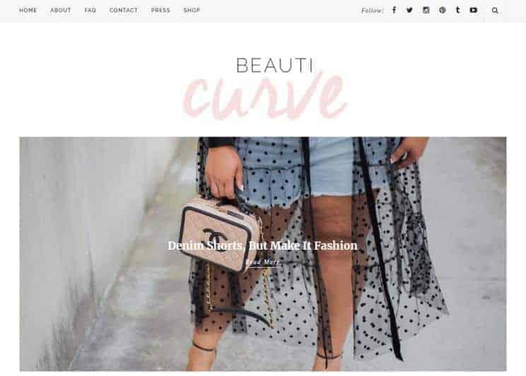 Beauticurve website homepage.