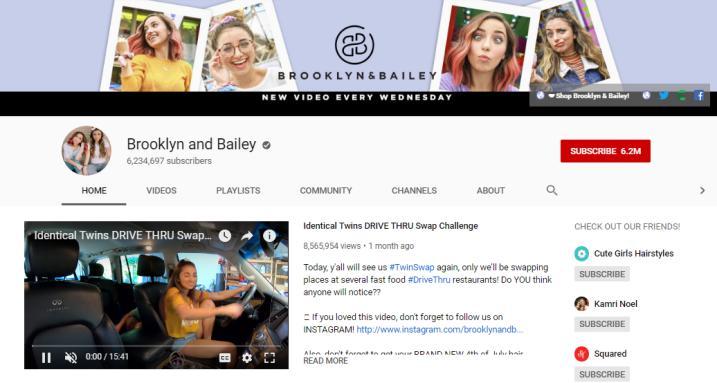 Brooklyn and Bailey YouTube homepage.