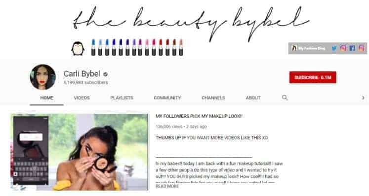 Carli Bybel YouTube homepage.