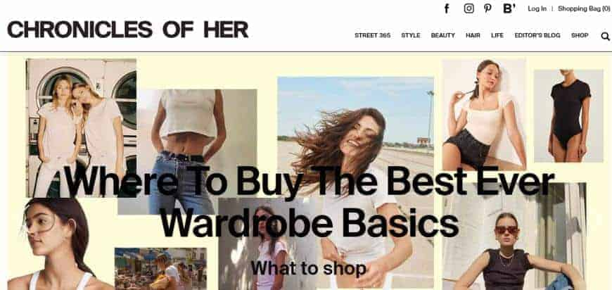 Chronicles of Her website for fashion.