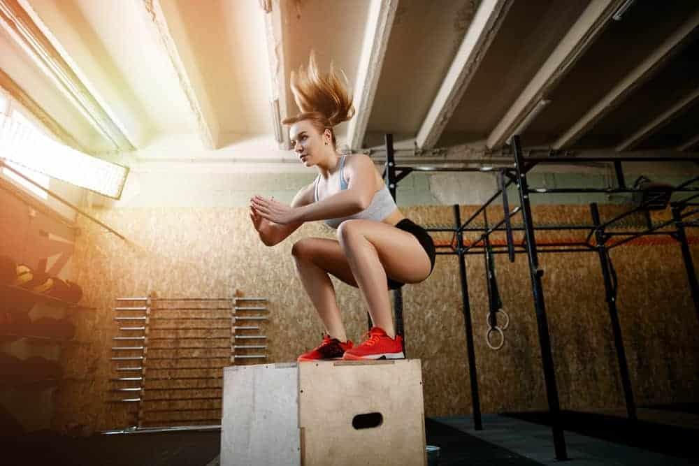 Woman wearing cross-training sneakers.