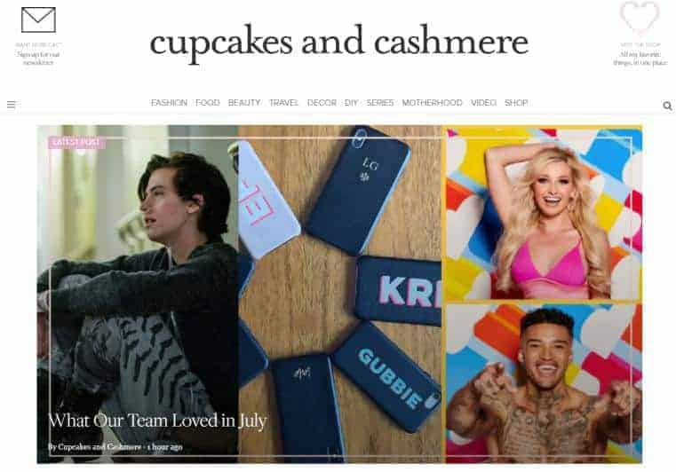 Cupcakes and Cashmere website homepage.