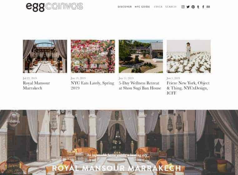 Egg Canvas website homepage.