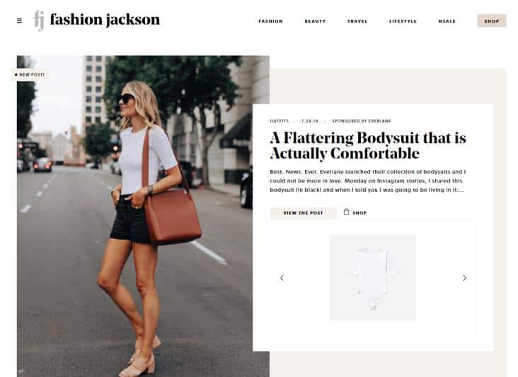 Fashion Jackson website homepage.