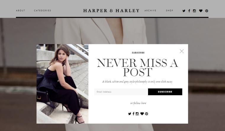 Harper & Harley website homepage.