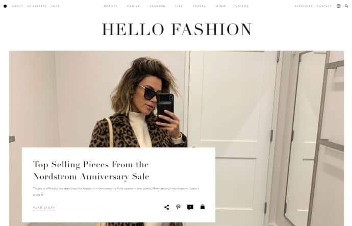 Hello Fashion website homepage.